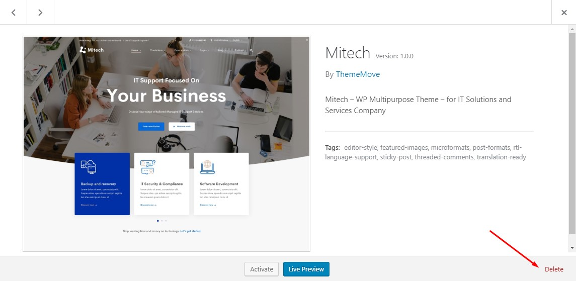 Update Theme - Mitech Documentation