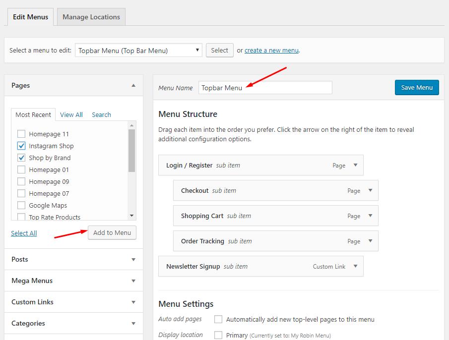 How to Edit Menu - Moody Documentation